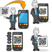 Businessman with QR code for mobile devices. 4 cartoons — Stock Vector
