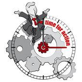 Businessman cartoon. Time for action concept. — Stock Vector