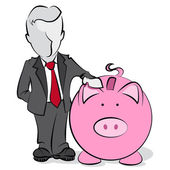 Businessman with piggy bank — Stock Vector