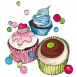 Cupcakes and muffins background - Stock Vector