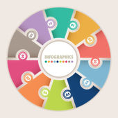 Infographics with ten options Circular puzzle — Vettoriale Stock