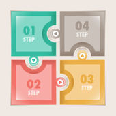 Infographics Four steps Square puzzle — Vector de stock