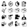 Stock Vector: Icons set with reflection: Logistics