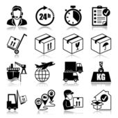 Icons set with reflection: Logistics — Stock Vector