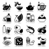 Icons set with reflection: Food and drink — 图库矢量图片