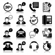 Icons set with reflection: support - Stock Vector