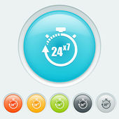 Service 24 hours for 7 days buttons — Vector de stock