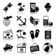Summer vacations icons with reflection — Image vectorielle