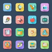 School flat icons — Stock Vector