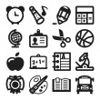 Stock Vector: School flat icons. Black