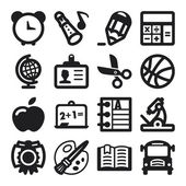 School flat icons. Black — Stock Vector