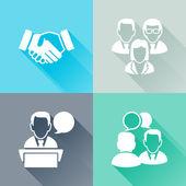 Toplantı renkli düz simgeler — Stok Vektör