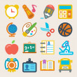Stock Vector: School colorful flat icons