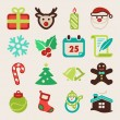 Stock Vector: Christmas colorful flat icons