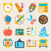 School colorful flat icons — Stock Vector