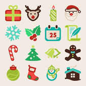 Christmas colorful flat icons — Stock Vector