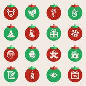 Christmas balls with symbols of Christmas — Stock Vector