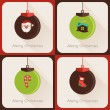 Set IV of greeting cards Christmas ball — Vettoriali Stock
