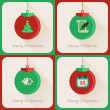 Set III of greeting cards Christmas ball — Vettoriali Stock