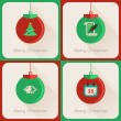 Set III of greeting cards Christmas ball — 图库矢量图片