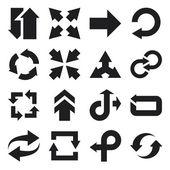 Arrow flat icons. Black — Stock Vector