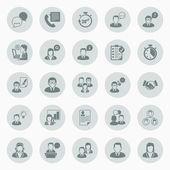 Ikoner om företagare som arbetar på kontor — Stockvektor