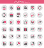 Icônes sur shopping — Vecteur