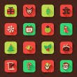 Christmas flat icons in a square — Stock Vector