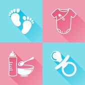 Babies colorful flat icons — Stock Vector
