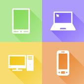 Icônes plat coloré de dispositifs — Vecteur