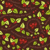 Christmas mistletoe seamless background — Stock Vector