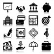 Finance icons with reflection — Stock Vector