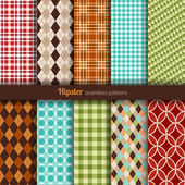 Seamless patterns hipster style — Stock Vector