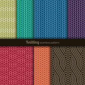 Seamless patterns knitting style — Stok Vektör