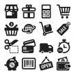 Shopping flat icons. Black — Vettoriale Stock #34307919