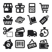 Shopping flat icons. Black — Vector de stock