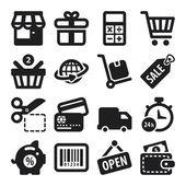 Shopping flat icons. Black — Stock Vector