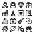 Wedding flat icons. Black — Stock Vector