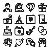 Wedding flat icons. Black — ストックベクタ