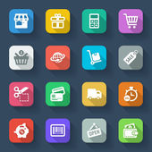 Shopping flat icons. Colorful — Stock Vector