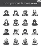 People flat icons. Occupations and roles — Stock Vector