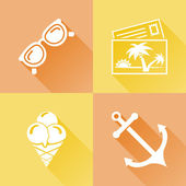 Summer colorful flat icons — Stock Vector
