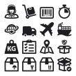 Shipping flat icons. Black — Stock Vector