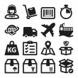 Stock Vector: Shipping flat icons. Black