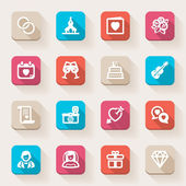 Wedding flat icons. Colorful — Vettoriale Stock