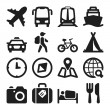 Travel flat icons. Black — Vettoriale Stock #36722987