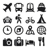 Travel flat icons. Black — Vettoriale Stock