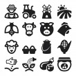 Farming flat icons. Black — Stock Vector