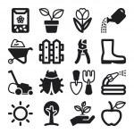 Gardening flat icons. Black — Stock Vector