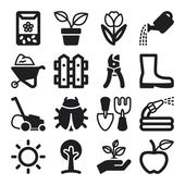 Gardening flat icons. Black — Stock Vector